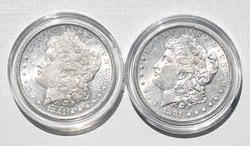 2 1881 S Frosty White Slider or Unc Morgan Dollars