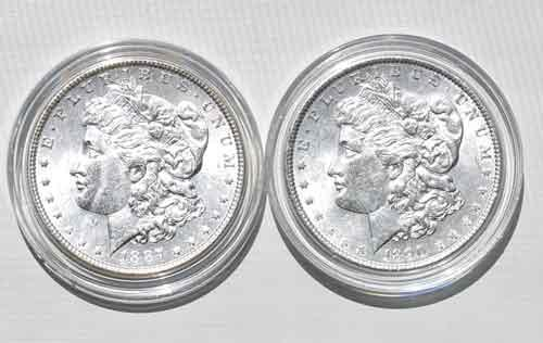 1887 And 1890 Frosty White BU Morgan Dollars
