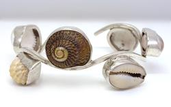 Natural Sea Shell Cuff in Sterling