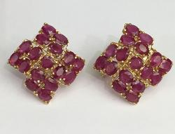 14kt Solid Yellow Gold 12.00 Carat Ruby Earrings