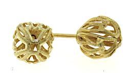 Fancy Gold Ball Stud Earrings