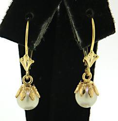 Nice Gold Pearl Dangle Earrings