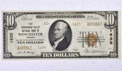 Winchester VA National $10, Low Serial