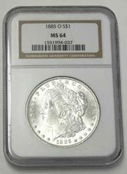 1885 O Frosty White BU MS 64 NGC Morgan Dollar