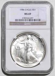 1986 S Silver Eagle In An NGC MS 69 Holder