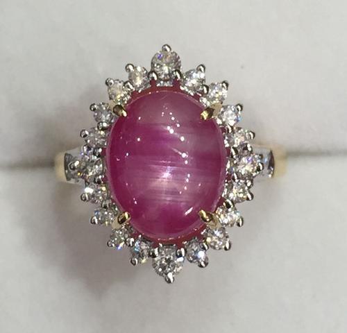 8.0+ Carat Pink Star Sapphire & Diamond Ring in 18kt Gold