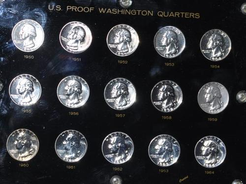Short Silver Washington 25 Cent Proof Set 1950-64 in Cap Plastic Holder