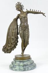 Lucien Alliot Art Deco Peacock Dancer Bronze sculpture