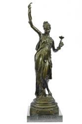 Snake Charmer Bronze Marble Sculpture Art Deco