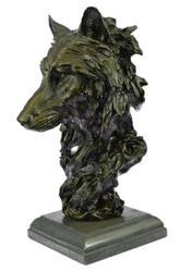 Wolf Head Bust Wild Life Figurine Marble Base Bronze
