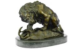 Lion and Snake Bronze on Marble Base Statue