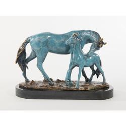 Arabian Show Horse Bronze Statue on Marble Base