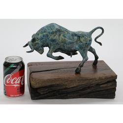 Bronze Patina Stock Market Bull on Natural Wooden Base
