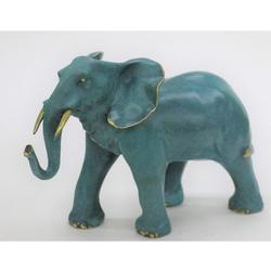 Elephant With Trunk Up Bronze Sculpture