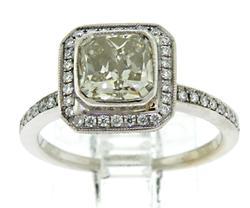 Graceful 1.45ct Square Cushion Halo Diamond Ring