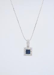 Square Halo Diamond and Sapphire Necklace