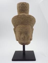 Antique Sandstone Cambodian Deity Head Statue