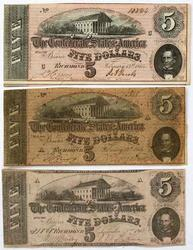 3 Confederate  $5 Notes T 59  T 69 1862 and 1864 Series