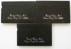 1992-4 US Silver Proof Sets In Original Boxes