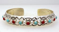 New Turquoise & Coral Sterling Native American Cuff