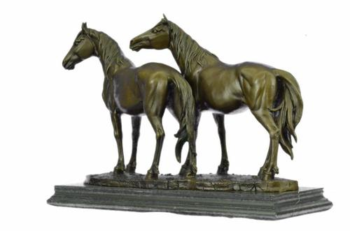 Two Loving Horse Bronze Sculpture on Marble Base