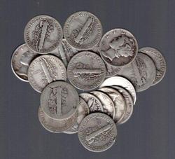 Half Roll of 20 Silver Mercury Dimes