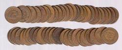 Roll of 50 Indian Head Cents: 1900-1909
