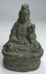 Chinese GODDESS Guan Yin Bronze Amulet Statue Compassion