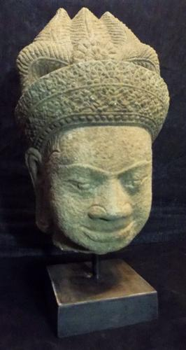 Cambodian Deity Relic Sandstone carved head Statue COA