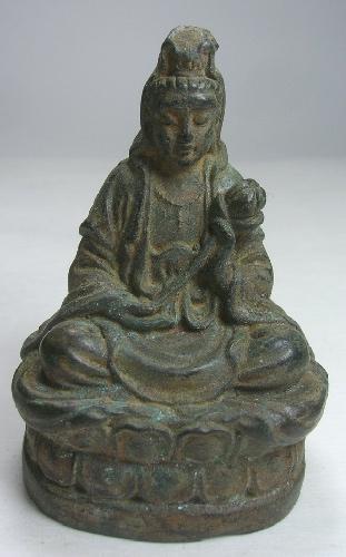 Bronze Statue Chinese GODDESS Compassion Guan Yin