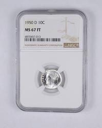 MS67 FT 1950-D Roosevelt Dime - Graded NGC