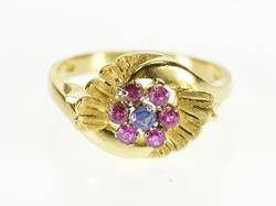 18K Yellow Gold Pink Blue Spinel Floral Cluster Cocktail Ring