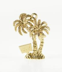 14K Yellow Gold Dimensional Palm Tree Tropical 1978 Charm/Pendant