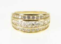 14K Yellow Gold Tiered Cubic Zirconia Encrusted Graduated Band Ring