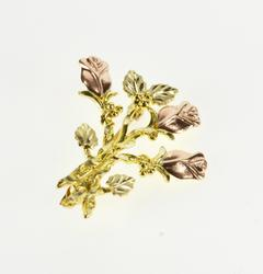 10K Yellow Gold Two Tone Stylized Rose Bouquet Cluster Pin/Brooch