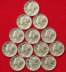 13 Choice Frosty BU 1941 S Mercury Dimes