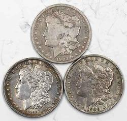 1900 S 1902 S and 1903 Raw Morgan Dollars