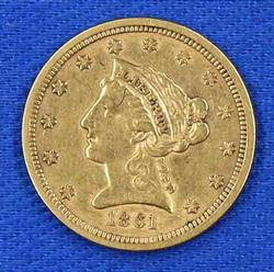 1861 American Mint Certified $2.50 Quarter Eagle US Gold Civil War 1861