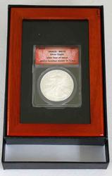 2010 MS 70 ANACS Silver Eagle First Release In Mahogany Holder