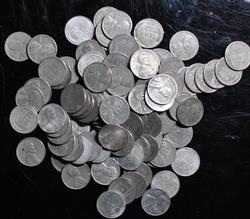 1943 United States 100 Unsearched Steel Cents 1c WW 2 Circulated Coins