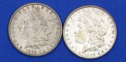 1885 And 1888  Near Slider Morgan Dollars