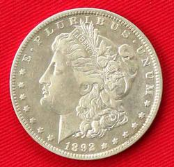 1892 Morgan Silver Dollar With XF COA