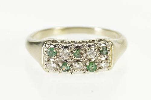 14K White Gold Diamond Emerald Squared Cluster Wedding Band Ring
