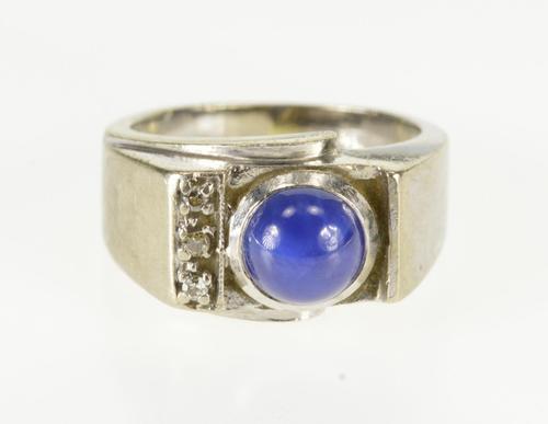 10K White Gold Syn. Star Sapphire Diamond Inset Retro Ring