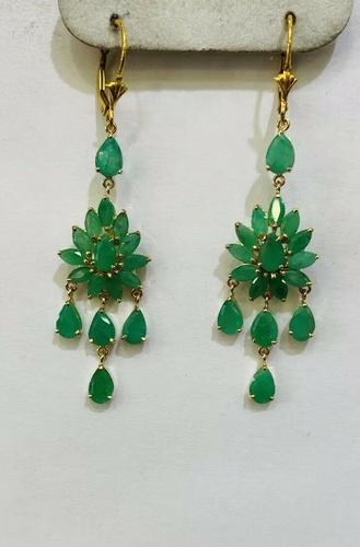 10.00+ Carat Natural Emerald Chandelier Earrings in 14kt Gold