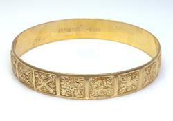 Fantastic Custom Made Gold Bangle, 8.75in