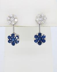 Blue Sapphire and Diamond Floral Cluster Earrings