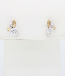 Two Tone Diamond Stud Earrings