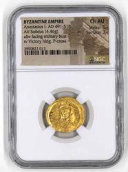 Byzantine Enmpire Gold  Solidus Anastasius 1 Ch AU NGC