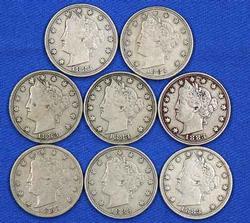 8 1883  No Cent Rackateer Type V Nickels